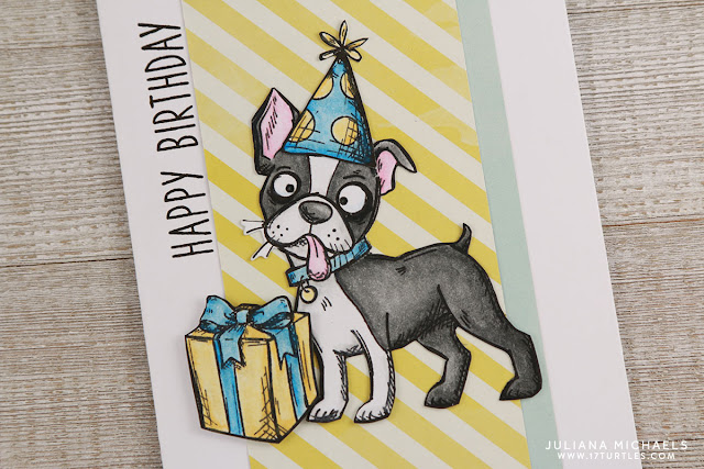 Crazy Boxer Happy Birthday Card by Juliana Michaels featuring Tim Holtz Crazy Dog Stamp Set and Right At Home Simple Sentiments Stamp Set