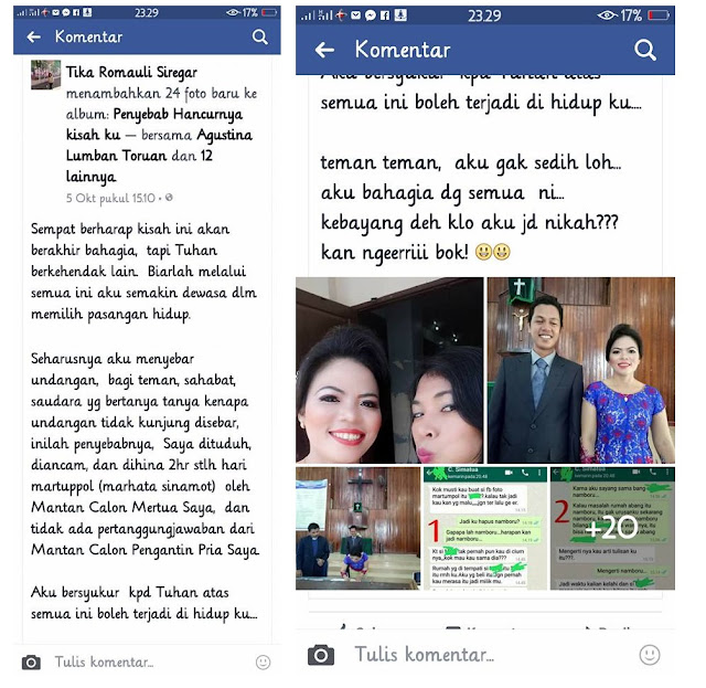 Screenshoot Postingan AKun Facebook Tika Romauli Siregar sebelum ihapus