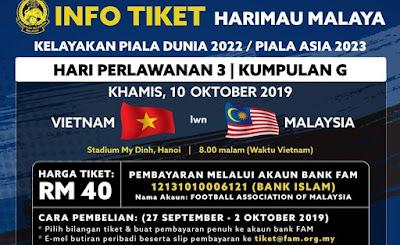 Harga Tiket Vietnam vs Malaysia Kelayakan Piala Dunia 10.10.2019