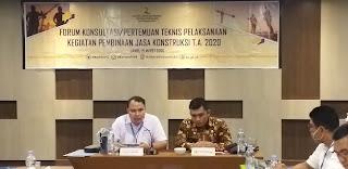 Plt Kepala Balai Jasa Konstruksi wilayah II Palembang Secara Resmi Membuka Forum Konsultasi Pertemuan Teknis Pelaksanaan Kegiatan Pembinaan Jasa Konstruksi.