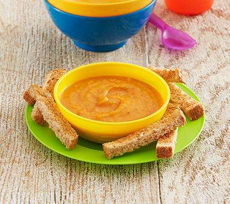 Sopa de calabaza y pimiento rojo
