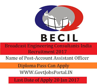 Broadcast Engineering Consultants India Recruitment 2017 For Account Assistant Officers