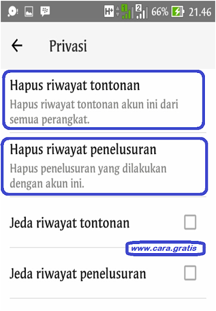 Hapus Riwayat Youtube
