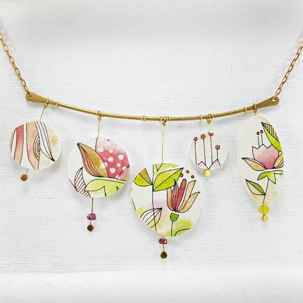 Horizontal five piece hand-painted floral paper necklace with brass findings