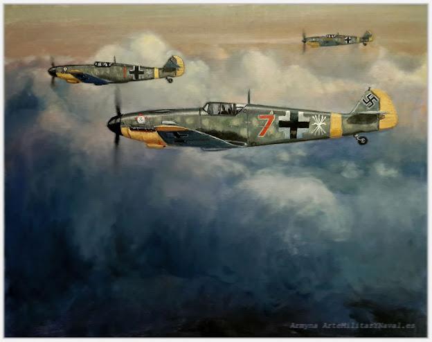 Aviones bf-109 en vuelo