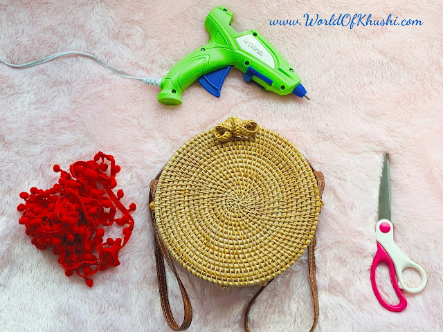 Round Straw Crossbody Bag Makeover | DIY