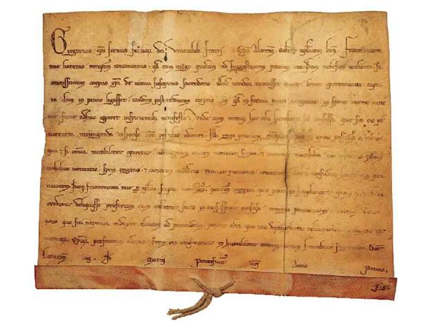 A Bula Fraternitatis tuae do Papa Gregório IX reconhecendo o milagre em 1228