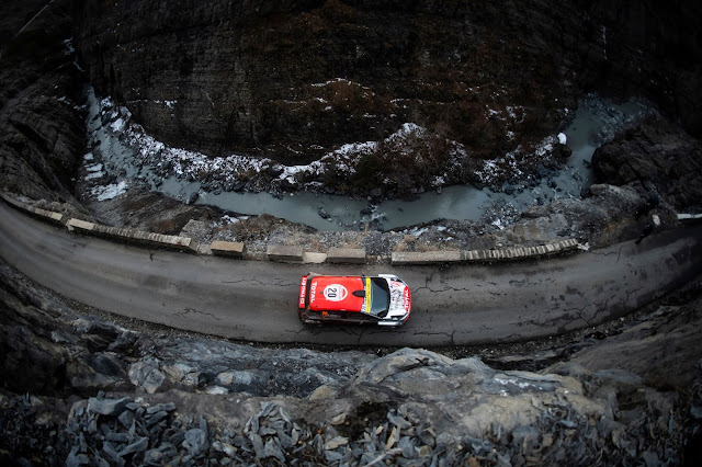 Rally Car from above on monte carlo rally