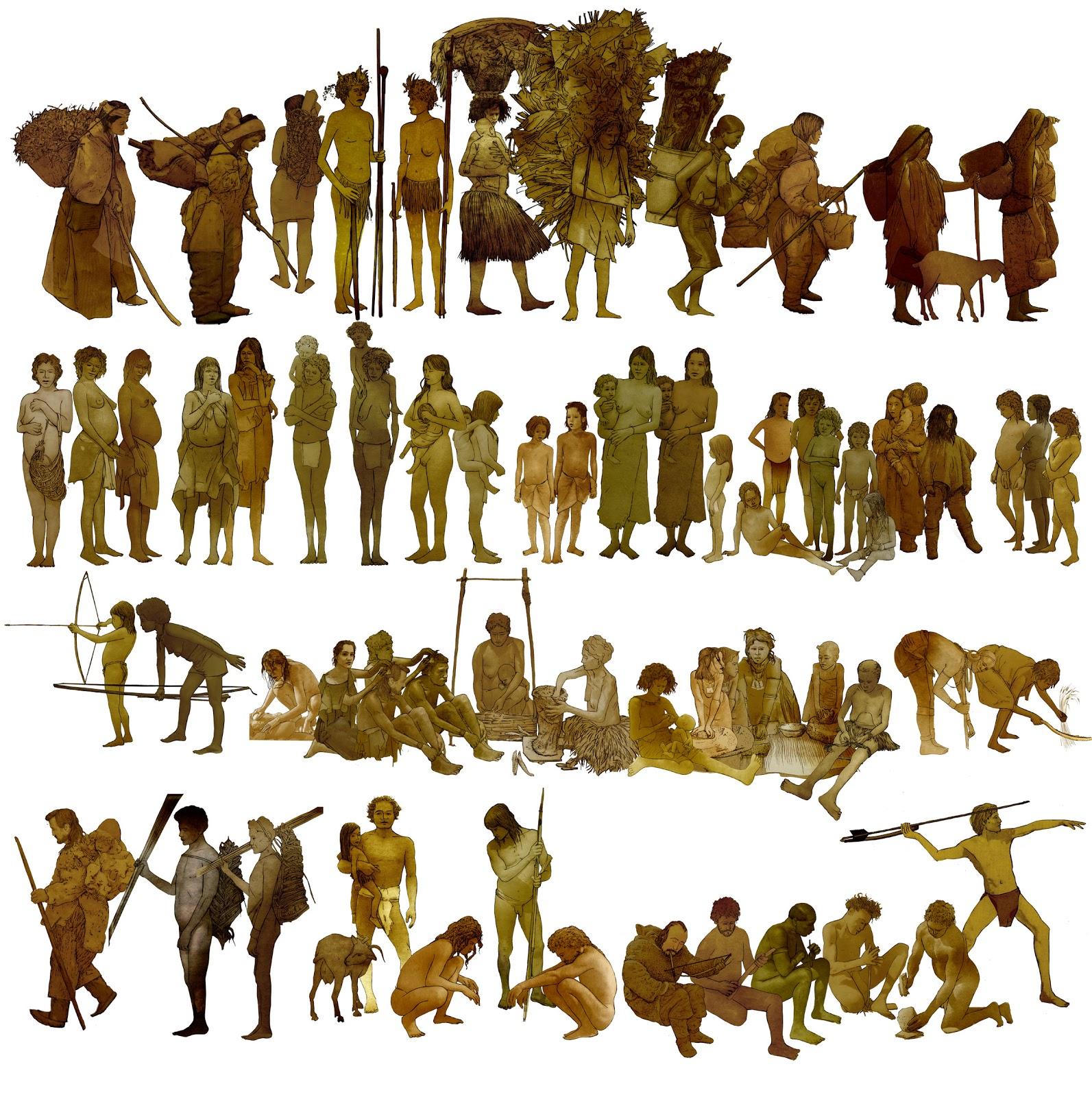 Mujeres hombres y niños, sacados de fotos antropologica, para ilustrar la prehistoria
