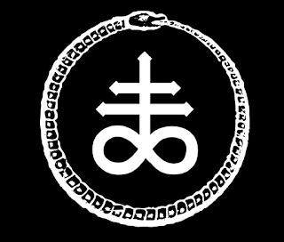 Ilustração do sigilo de Leviatã, com a cobra que morde a própria cauda em volta, ouroboros