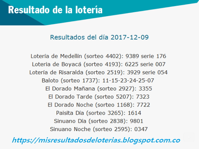 Como jugo la lotería anoche | Resultados diarios de la lotería y el chance | resultados del dia 09-12-2017