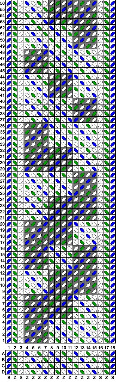 A tablet weaving draft for 18 tablets, producing diagonal lines and diamonds in green, blue and white.