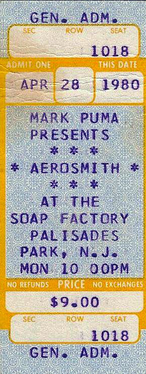Aerosmith ticket at The Soap Factory April 28, 1980