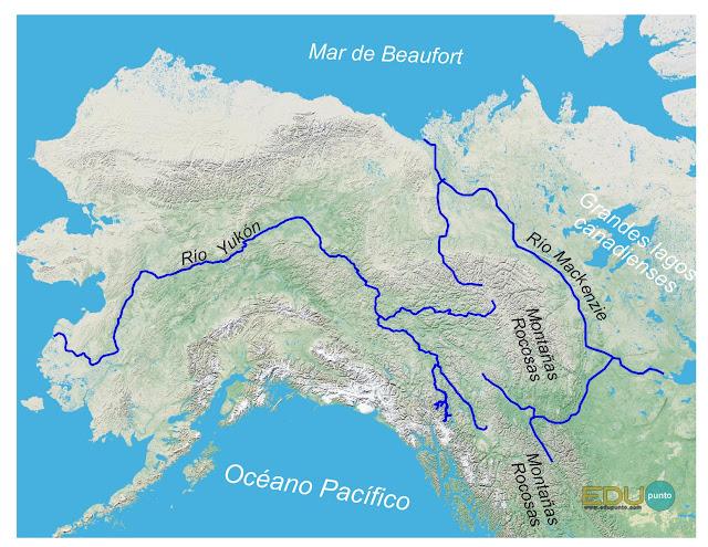 hidrografia, america del norte, norteamerica, rio, cuenca, AMERICA, yukon, mackenzie, beaufort, bering