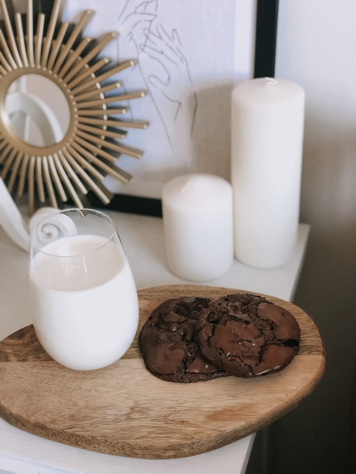 A flourless chocolate chip cookie recipe using all store cupboard ingredients.