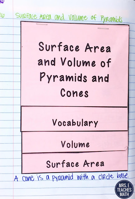 surface area and volume of pyramids and cones flipbook for geometry interactive notebooks