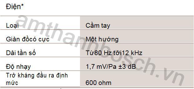 Thông số kỹ thuật micrô cầm tay một hướng LBC 2900/xx