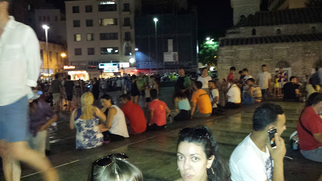 The nightlife in the city squares is hopping - this was a Wednesday night!
