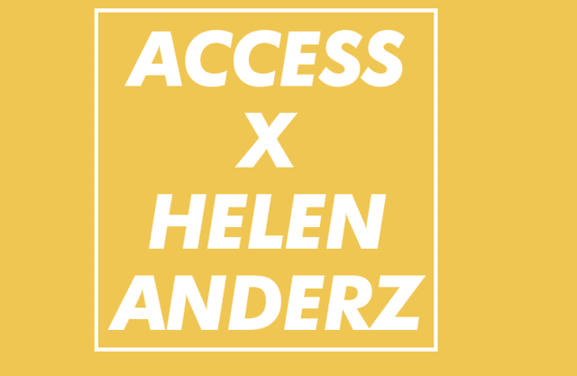 Yellow image that says helen anderz x access creative