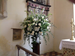 wedding flowers inside church