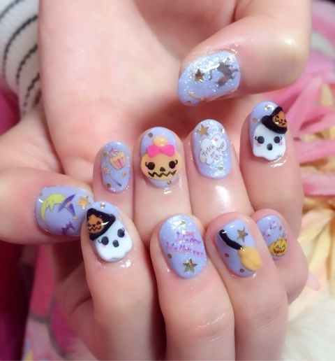 kawaii halloween nail art