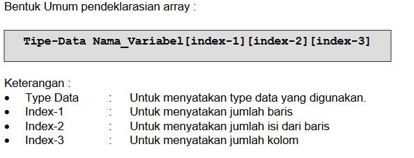Bentuk umum pendeklarasian array 3 Dimensi