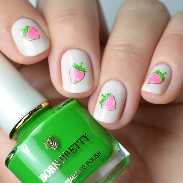 stamped strawberry nail art