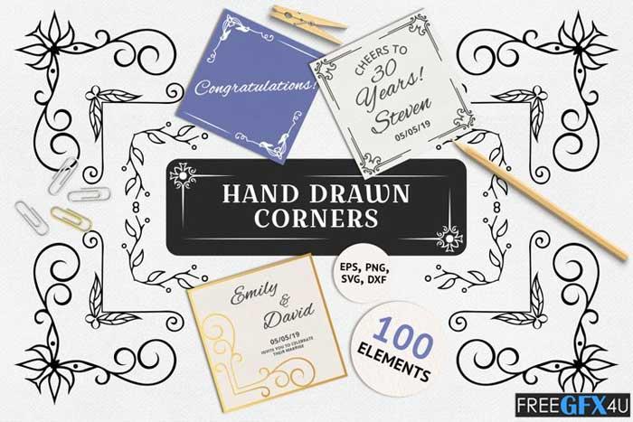 100 Hand Drawn Ornate Corners and Borders