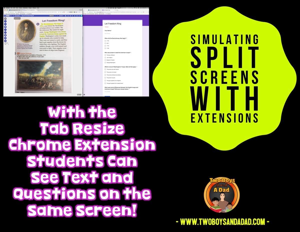 Practice with split screen extensions