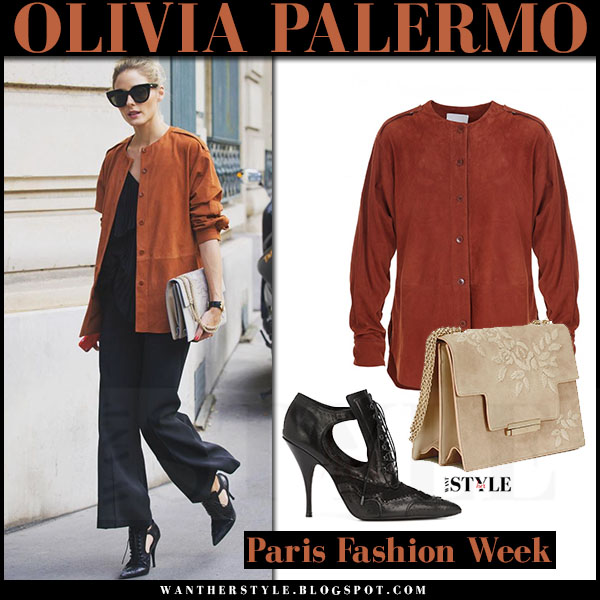 Olivia Palermo in brown cognac suede tibi shirt, black pants and black brogue booties givenchy what she wore paris fashion week