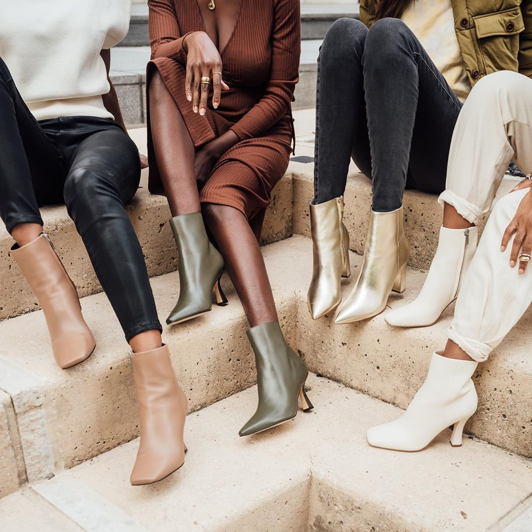 Shop the Best Ankle Boots for Fall — @influencingincolor in heeled booties, white ankel boots, burgundy boots