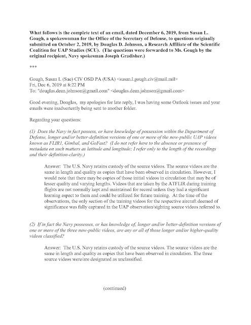 OSD%2BGough%2Bto%2BDouglas%2BJohnson%2B12 6 19 Page 1 Portavoz del Pentágono afirma que la marina de los EEUU descarto la versión larga de los videos ovnis durante incidentes UAP en 2004 y 2015