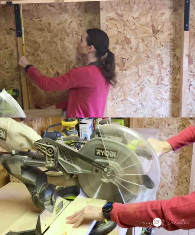measure for shelf length and cut wood