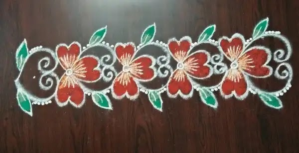 Border rangoli for puja festival