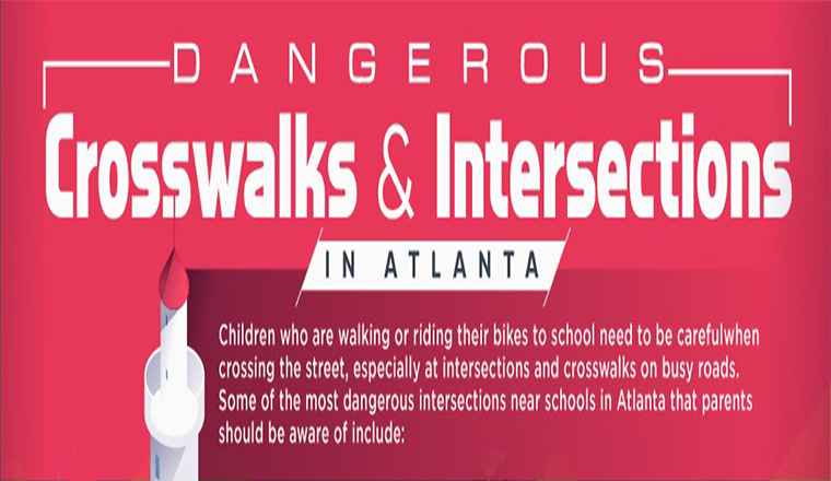 Dangerous Intersections For Pedestrians In Atlanta, GA #infographic