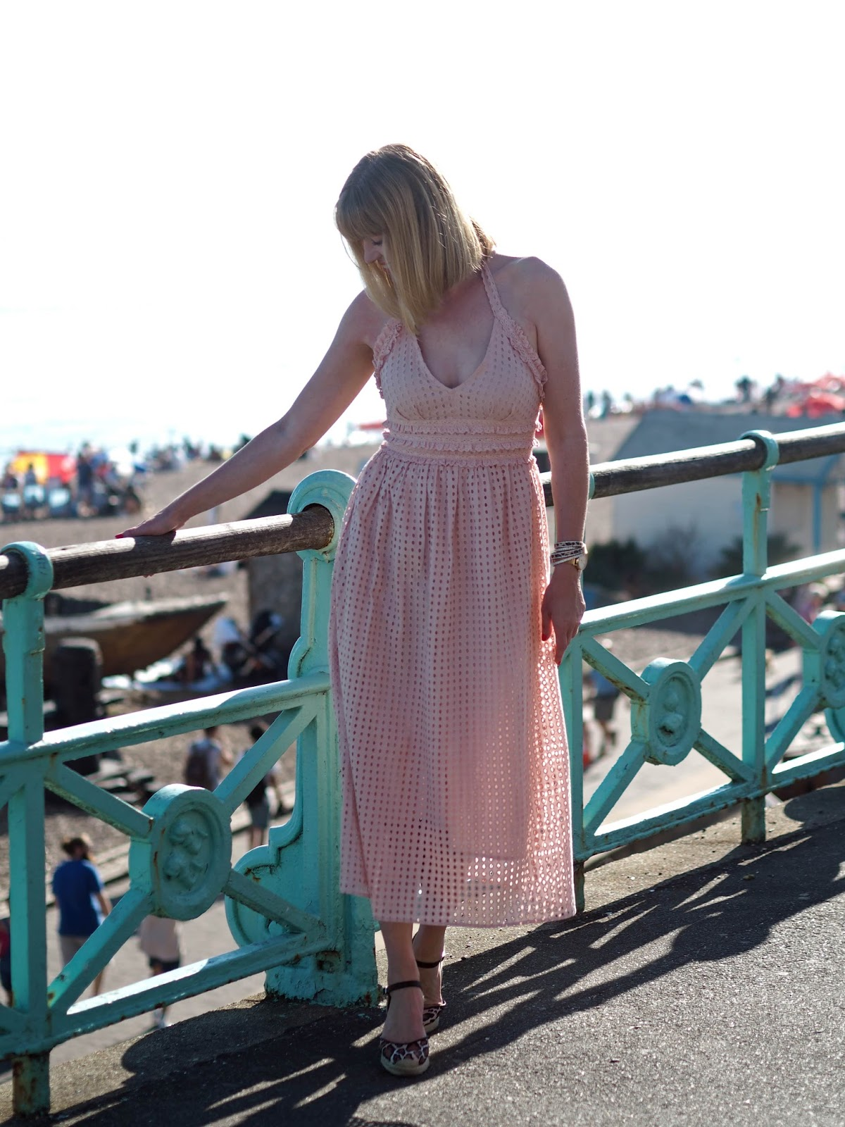 Topshop pink broderie anglaise ruffle halter neck midi dress with leopard print espadrilles and leopard print wrap bracelet