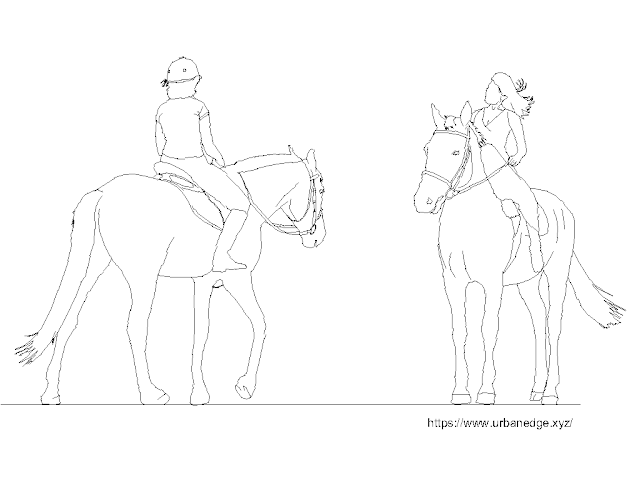 Horse rider free dwg cad blocks download