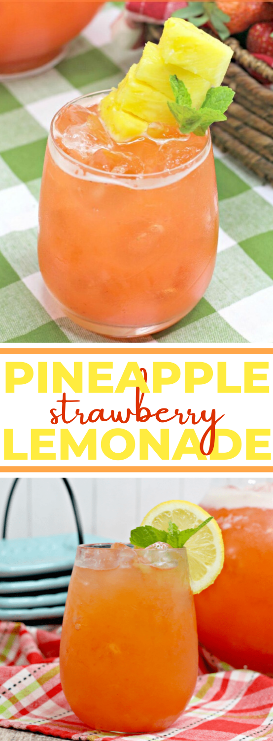 Pineapple Strawberry Lemonade #summer #drink #party #nonalcohol #kidfriendly
