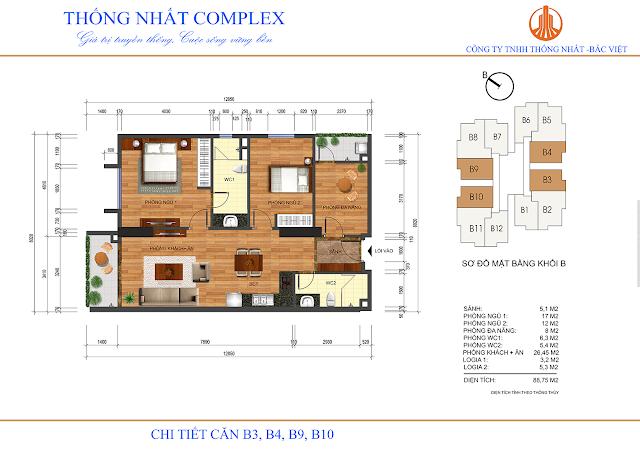 Mặt bằng căn B3 - B4 - B9 - B10 tòa B chung cư Thống Nhất Complex