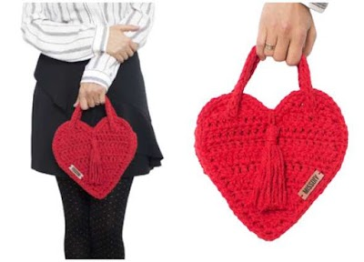 Bolso de mano tejido con forma de corazón tutorial