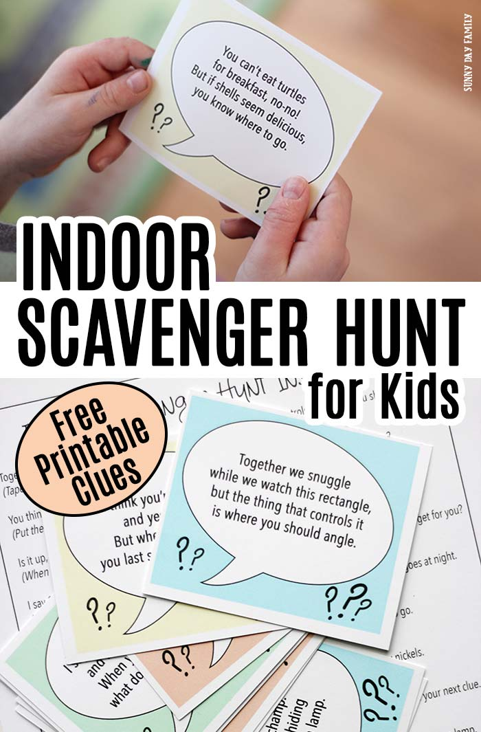 Follow the clues to find a fun surprise with this FREE printable indoor scavenger hunt for kids! Includes 10 clues and 2 blank cards to customize your own. Perfect rainy day activity for kids, playdate activity, or fun for a kids birthday party idea! Super cute free printables for kids! #scavengerhunt #forkids #freeprintables #kids