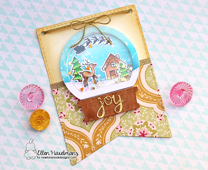 Snow Globe Shaker Christmas Card by Ellen Haxelmans | Snow Globe Scenes Stamp Set  and Snow Globe Shaker Die Set by Newton's Nook Designs #newtonsnook