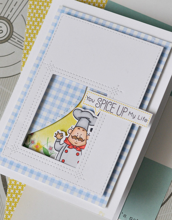Birdie Brown Recipe for Happiness stamp set and Die-namics and Lisa Johnson Designs Rectangle Peek-a-Boo Window Die-namics - Anna Ignatenko #mftstamps