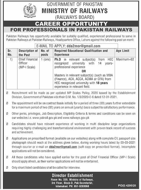 Chief Financial Officer CFO Job 2021 in Islamabad