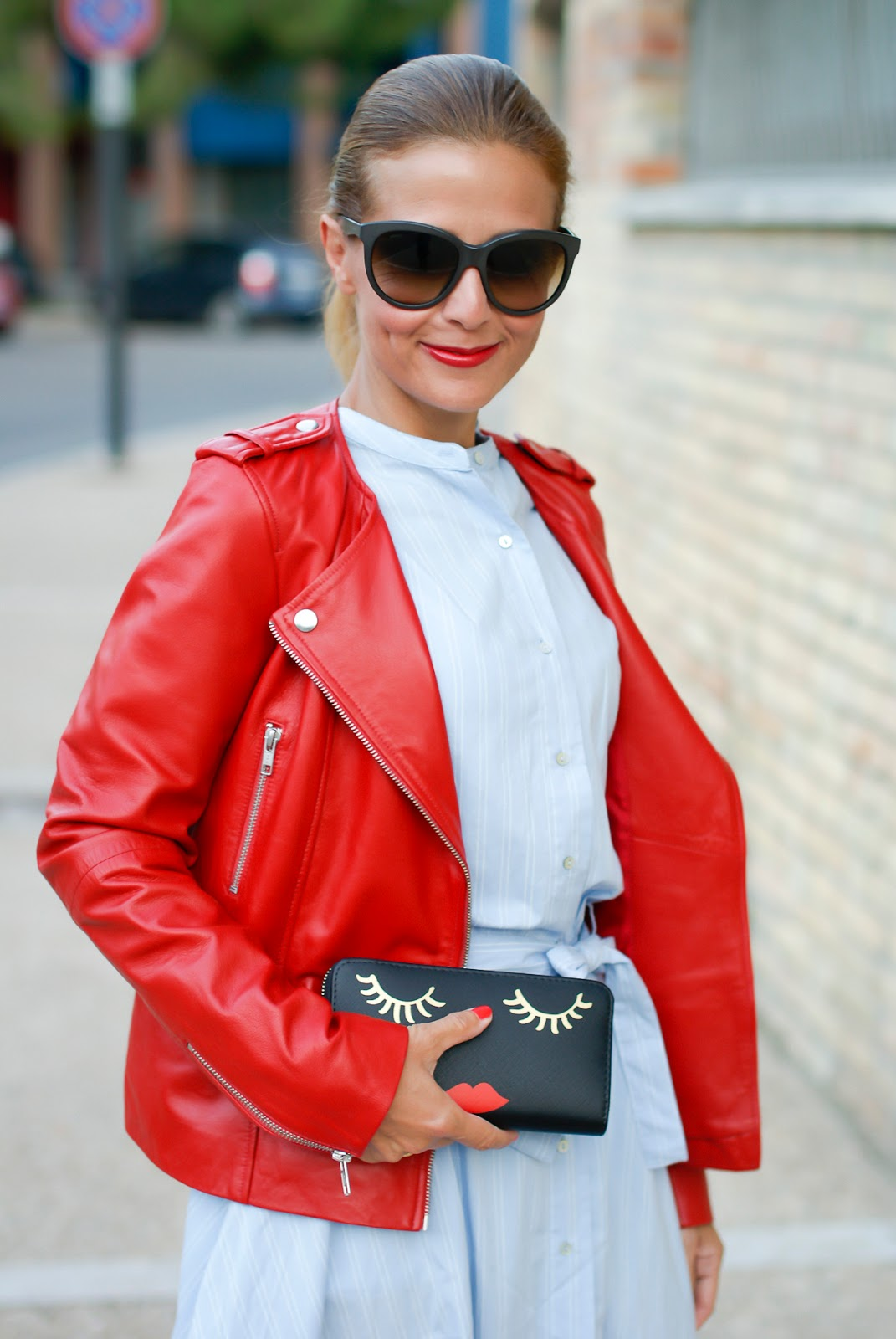 1.2.3 Paris red leather biker jacket on Fashion and Cookies fashion blog, fashion blogger style