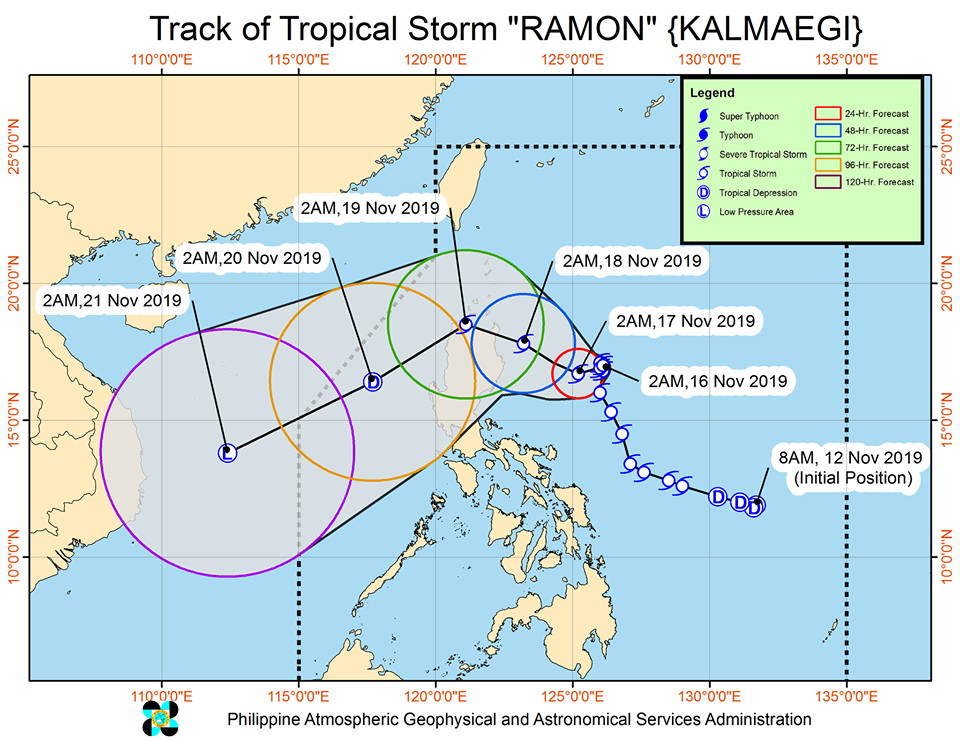 Track of Tropical Storm Ramon