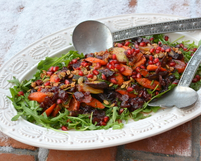 Celebration Salad (Maple-Roasted Carrots with Arugula, Dill, Cranberry Vinaigrette, Pomegranate and Glazed Pecans) ♥ KitchenParade.com, an exultant platter of vegan texture, color, flavor and mood. Meatless Monday. Gluten Free.