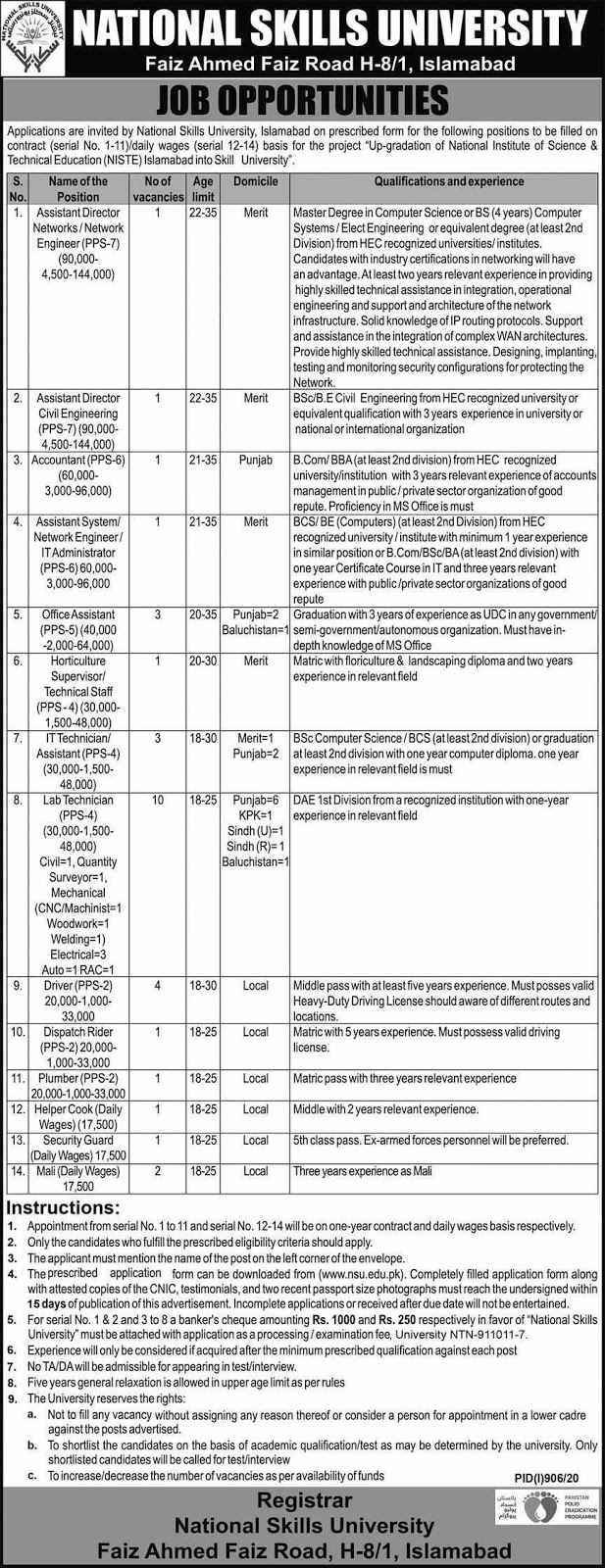 Latest National Skills University Islamabad Jobs 2020 for Office Assistant, IT Technician and more