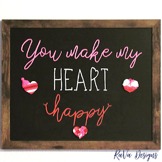 you make my heart happy love quote chalkboard writing