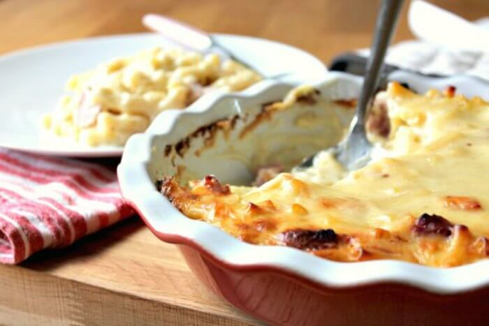 macaroni cheese with gammon